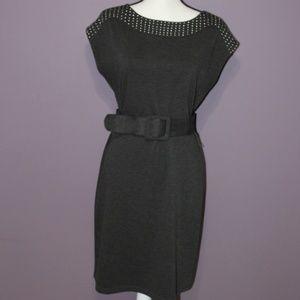 Gray Knit Belted Short Sleeve Sheath Dress Sz 8